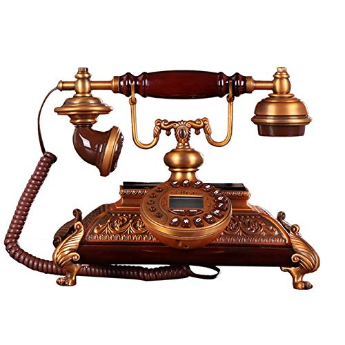 ZHAOH Línea Fija Retro Botón de teléfono Fijo Antiguo de la Vendimia Europea Teléfonos Retro con Cable con Timbre de Metal clásico Teléfono Decorativo