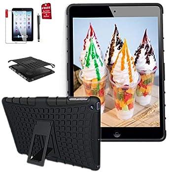 Ipad 4th Generation 9.7 inch case ipad 3rd / 2nd Case for Ipad Model md510ll/A MC769ll /A Mc979ll /A Mc705ll /A Mc770ll /A case A1458 A1430 A1416 A1395 2In1 TPU+PC Design Cover  Black