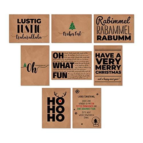16 Postkarten Weihnachtskarten Weihnachten Kraftpapier Christmas Cards 16 Modelle 8 Designs Grußkarten