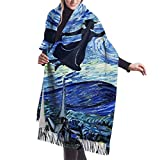 JJsister Bufandas de Mujer, Mary Poppins Starry Night Women Soft Cashmere Scarf Large Pashminas Shawl Blanket 77'x 27'