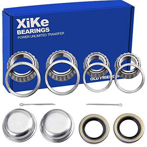 XiKe 2 Set Fits for 1-3/8'' to 1-1/16'' Axles Trailer Wheel Hub Bearings Kit, L68149/L68111 and L44649/L44610, 171255TB Seal OD 1.719'', Dust Cover and Cotter Pin, Rotary Quiet High Speed and Durable.