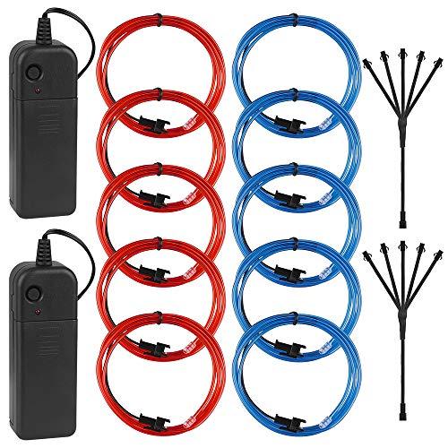 EL Wire, Gobesty 5x1M EL Draht Neon Licht Elektrolumineszenzdraht Neon Light Batteriebetrieben mit 3 Modis für Disco Party Kinder Halloween Kostüm Kleidung Weihnachtsfeiern(2 Pack, Rosa + Blau)