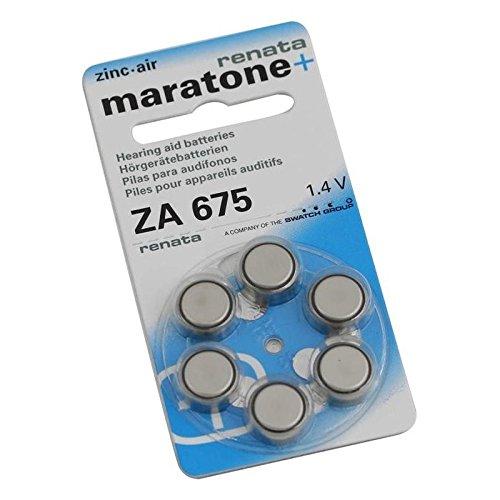 Renata Hörgerät ZA 675 Maratone Zink Luft Hörgeräte Akkus von 6 Stück (1 Packung ZA 675)