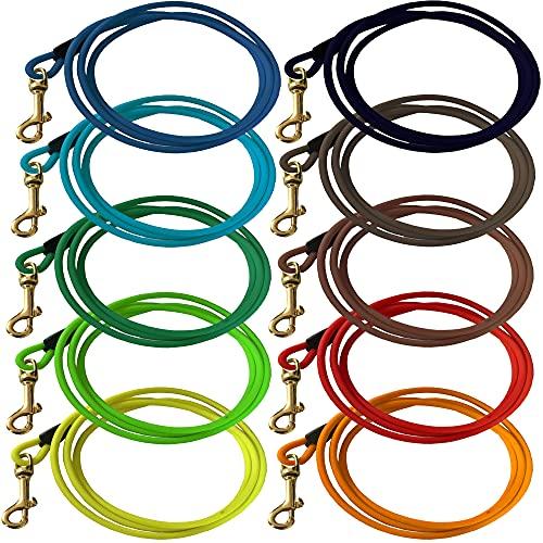 bio-leine Schleppleine ohne Handschlaufe aus runder Biothane I 3-20 Meter Ø 6mm & 8mm - Leine für Hunde ab 12kg I Hundeleine in 15 Farben