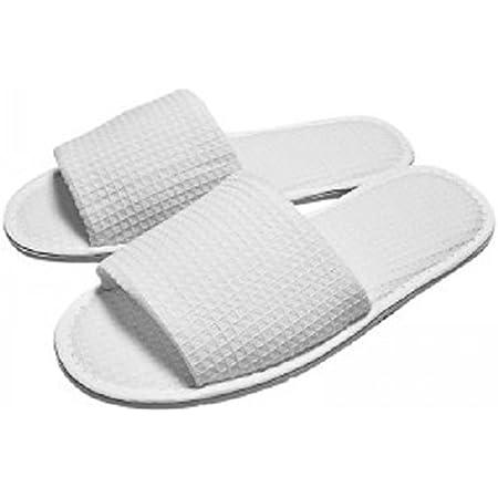 RPT - White Waffle Open Toe Slippers