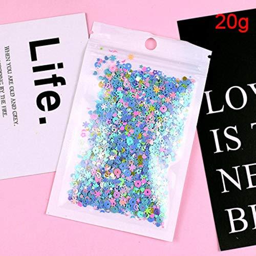 Multi kleur hart ster maan sneeuwvlok vorm losse pailletten voor nagels Art Manicure bruiloft decoratie Confetti 10g 20g, roze blauw blauw 20g