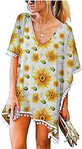 LYDIANZI Mujeres Verano Traje De Baño Cubierta Camisa Floral Gráfico Baño Traje Vestido Volante Mangas Irregular Dobladillo Playa Falda(Size:Extragrande,Color:Blanco)