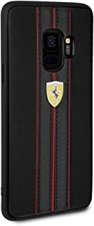 CG Mobile Ferrari PU Leather Case for Samsung Galaxy S9 Hard Cell Phone Cover Black with Contrasting Red-Black Stitching finishes Easy Snap-on Shock Absorption Cover Officially Licensed.