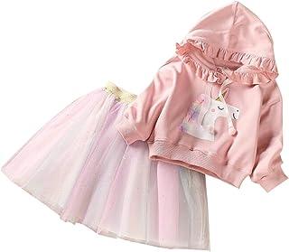2-Piezas Juego Niñas Vestido + Unicornio Encapuchado Suéter Vestido de Princesa Falda Net Hilo Tutu Regalo