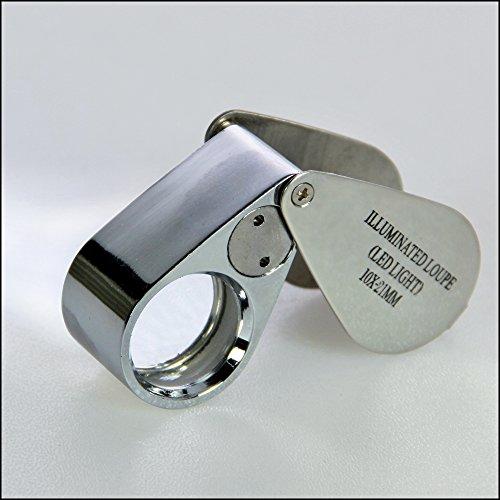 SAFE 9549 Metall Einschlaglupe Lupe Kristall-Linse 21 mm mit 10 facher Vergrößerung Triplet + LED + Etui + Batterien