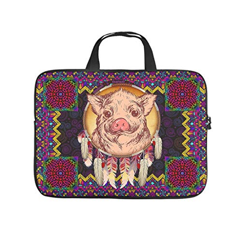 Native American Pig Laptop Messenger Bags Laptop Bags Gifts for Men Women White 12inch