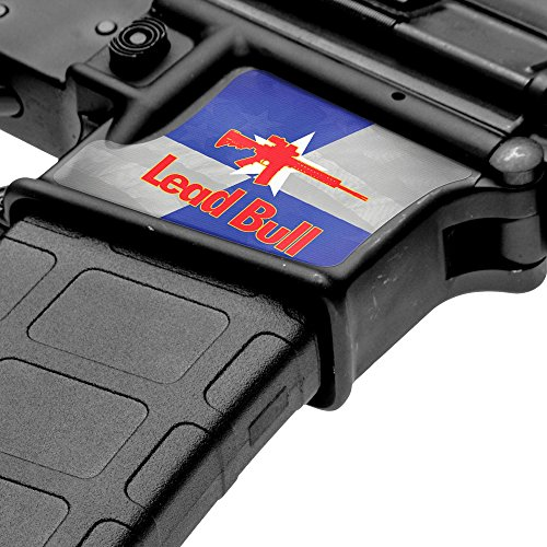 GunSkins Magwell Skin - Premium Vinyl Decal - Easy to Install and Fits AR-15 Lower Receivers - 100% Waterproof Non-Reflective Matte Finish - Made in USA - GS Lead Bull