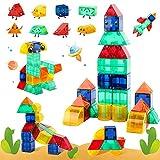 VATOS Magnetische Bausteine STEM Spielzeug für Kinder 3 , Kreativität 3D-Bausteine Set Konstruktion Blöcke aus 44 Bunten Stücken und 8 Formen, Magnet Spielzeug Geschenk für 3-12 Jungen Mädchen (44Stk)