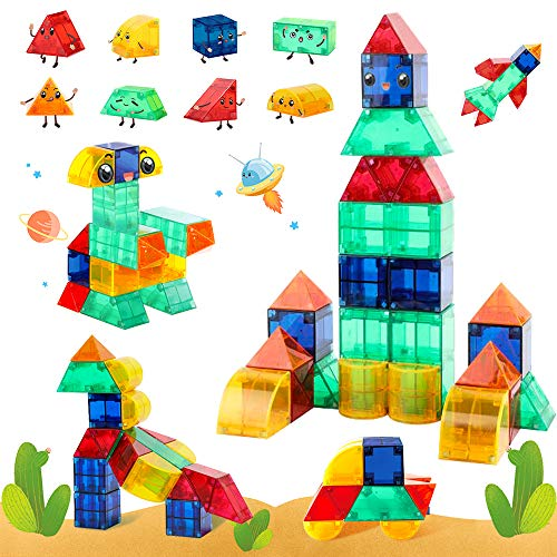 VATOS Magnetic Building Blocks 3D STEM Magnet Tiles Building Toys for Kids 44 PCS Creativity Educational Cubes Develop Motor Skills Montessori Sets Gift For Toddlers Boys Girls age 3 4 5 6 7+ Year Old