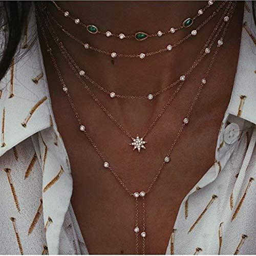 Collar de estrella de luna múltiple colgantes colgantes collares de geometría chokers joyería *1* (Metal Color : NE 0449 20)