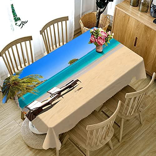 XXDD Mantel de Paisaje de Gaviota de árbol de Coco de Playa 3D Mantel Rectangular Lavable decoración de Boda Familiar A10 150x210cm