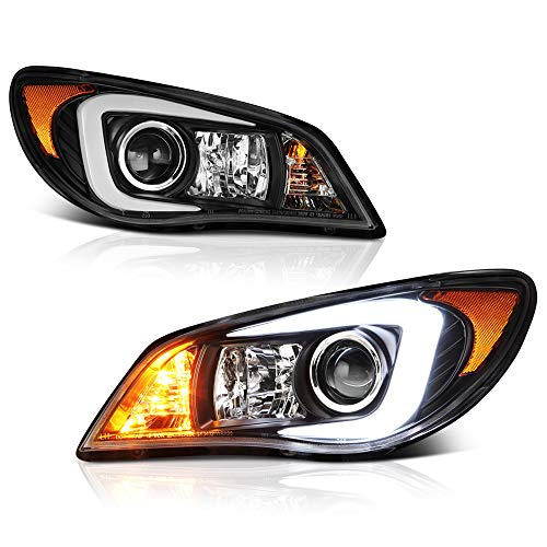 [For 2006-2007 Subaru Impreza WRX STI D2S Xenon HID Model] VIPMOTOZ C-Shape OLED Neon Tube Black Projector Headlight Headlamp Assembly, Driver & Passenger Side
