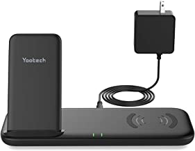 Yootech Dual Fast Wireless Charger with Cooling Fan, 4 Coils 10W Wireless Charging Stand and Pad with Quick Adapter,Compatible with iPhone Xs MAX/XR/XS/X/8/8Plus, Galaxy Note 10/Note 10 Plus/S10 Plus