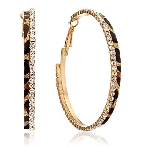 Gemini Ohrreifen (Gold), absolutes Luxus Leopard mit Glitzer und schwarz, Rundform, für gehobene Anläße, beliebt bei Girls & Damen, 2,5 cm Durchmesser