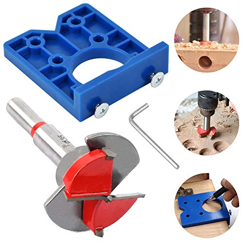 Hidden Forstner Bit Sets Hinge Jig, Drill Guide Set 35mm Hinge Hole Cutter,Boring Drill for Cabinet Hinge Mounting Plate