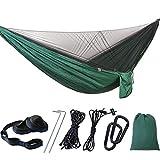 SOONHUA Amaca da campeggio portatile pieghevole da appendere, con zanzariera per due persone (verde scuro)