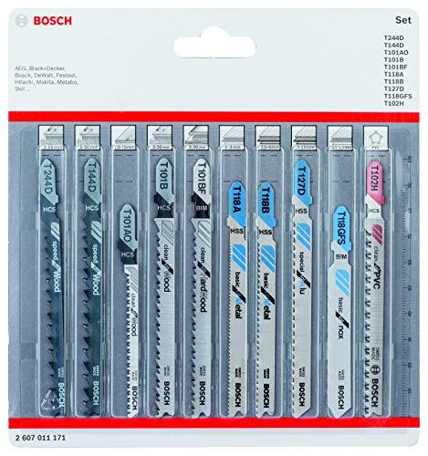 Bosch Professional 10tlg. Stichsägenblätter Set (für Holz und Metall, Zubehör für Stichsägen mit T-Schaft Aufnahme)