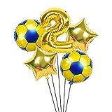 XIAOYAN Globos 6 unids / Lote 18 Pulgadas de fútbol fútbol Tema de fútbol Ronda Globos de lámina 32 Pulgadas Oro Plata número Globo Deporte Muchacho cumpleaños Fiesta Bolas ( Color : Ruby )