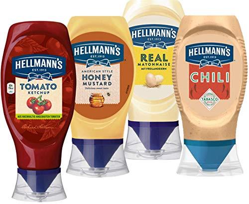 Hellmann's BBQ Set - Saucen-Auswahl zum Grillen mit Mayonnaise, Tomaten-Ketchup, Chili Mayo und Honey Mustard (Senf) (4 Produkte)