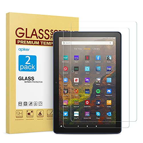 apiker 2 Pack Tempered Glass Screen Protector Compatible with All-new Fire HD 10 Tablet Fire HD 10 Plus Fire HD 10 Kids  Fire HD 10 Kids Pro (2021 Released),Easy Installation,Scratch Proof