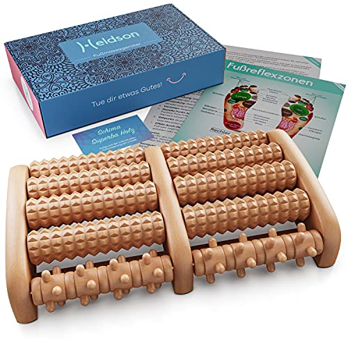 HELDSON® Premium Fußmassageroller Holz inkl.deutscher Anleitung und Karte für Fußreflexzonenmassage - Fussmassageroller Holz für Fußmassage - Fussroller Massage Holz Fersensporn Plantarfasziitis