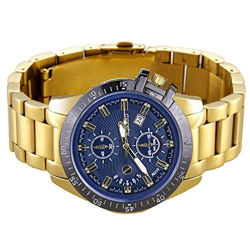 Business Herrenuhr Analog Quarz Gold mit Edelstahl Armband Herren Armbanduhr Blau Zifferblatt