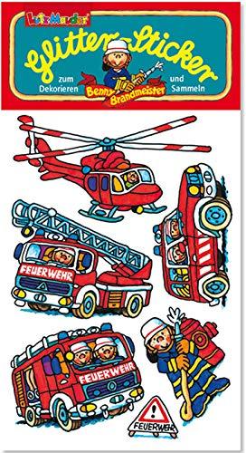 Glitter-Sticker * Feuerwehr & Fahrzeuge * von Lutz Mauder | 72321 | als Mitgebsel für Kinder | Feuerwehrauto Aufkleber zum Kindergeburtstag & Basteln