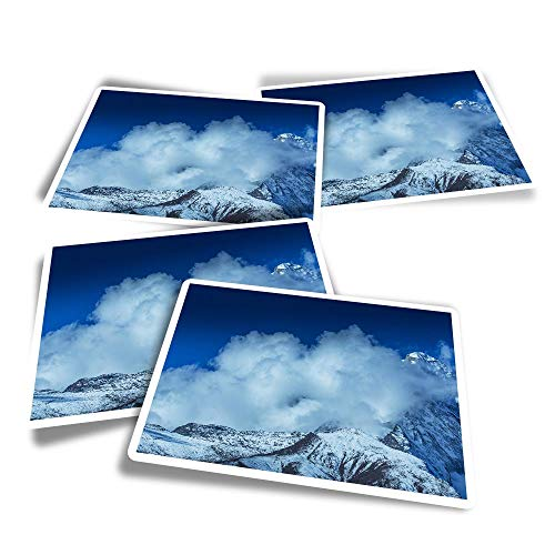 Vinyl Rectangle Stickers (Set of 4) - Mount Everest Fun Decals for Laptops,Tablets,Luggage,Scrap Booking,Fridges #14265