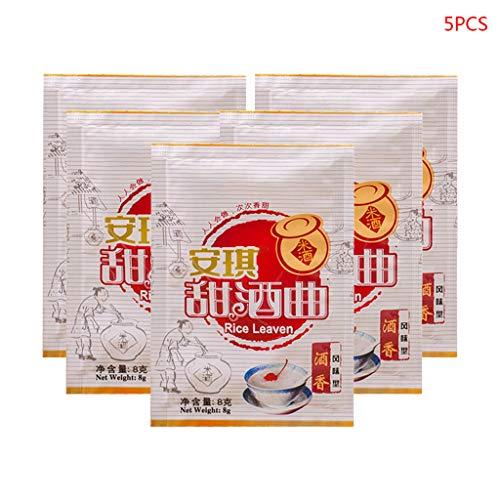 JIACUO Confezione da 5 Confezioni di Riso Cinese per fermentazione del Vino di Riso Lievito in Polvere Che Produce Birra