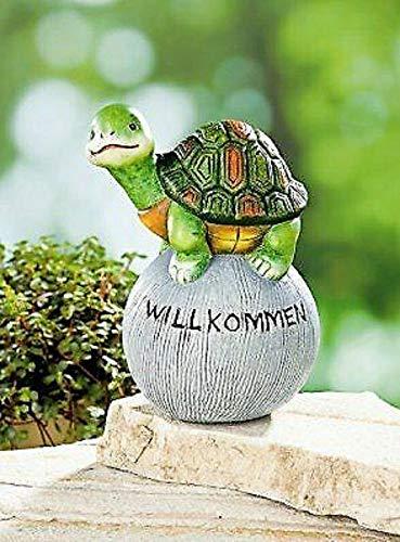 Asimex Gartenkugel Schildkröte Willkommen Deko Gartenfigur Dekoration Garten
