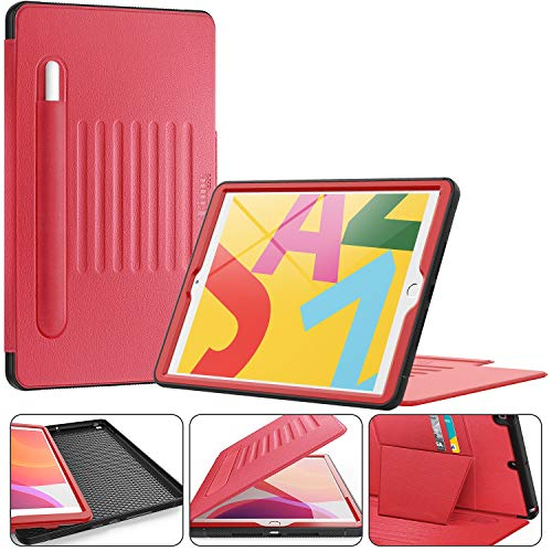Timecity iPad 7th Generation 10.2' Case. Very Protective But Convenient Magnetic Stand + Smart Sleep/Wake + Elastic Apple Pencil Pocket + Card Holder Cover for New iPad 7 Generation 2019, Black/Red
