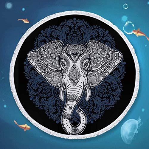 GermYan Elefante Mandala Toalla de Playa Redonda para Adultos Boho Toalla de baño de Microfibra Borlas Estera de Yoga exótica Bohemia