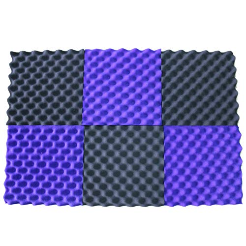 "Convoluted Purple/Gray 2 Inch 12"" W x 12"" L Egg Crate Panels Acoustic Foam Sound Proof Wall Tiles, 6 Pack"