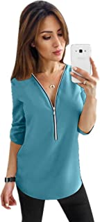 Women's Chiffon Blouses Button Down Shirts V Neck Classic Tops and Tees