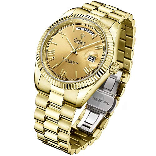 Relojes automáticos para Hombre, de 40 mm Day-Date Homage, Movimiento Miyota 8285, Caja de Acero Inoxidable y Pulsera, Espejo de Zafiro Impermeable