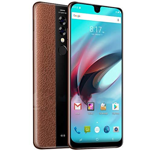 ZXYSR Mate23 Cellulari Economici 4G, 2MP + 8MP Pixel Sblocco con Impronta Digitale Posteriore Slot Smartphone Economici 4 GB + 128 GB, Telefonini,Marrone