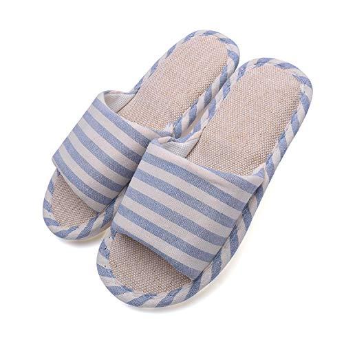 Hawiton Pantofole da Donna in Lino,Antiscivolo Cotone Scarpe in Aperte Leggera Slippers con Memory Foam,Ciabatte da casa Uomo morbide estive