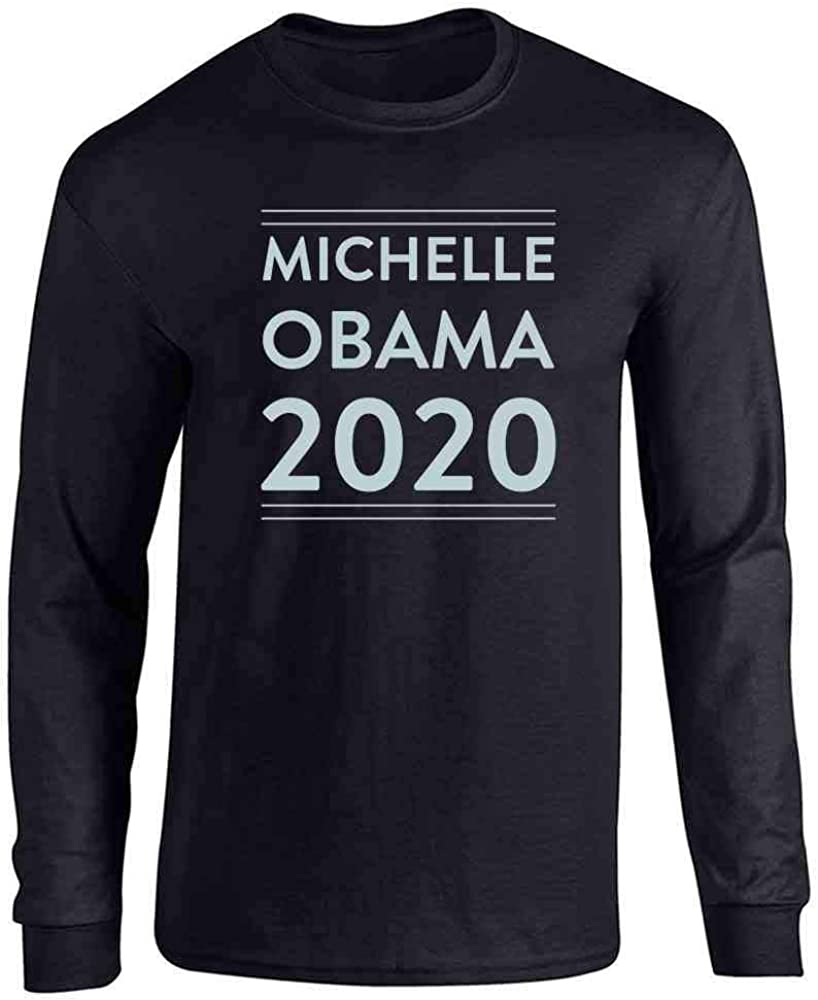 Pop Threads Michelle Obama 2020 for President Campaign Full Long Sleeve Tee T-Shirt