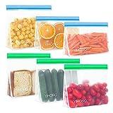 DXIA 6 Pack Bolsas Almacenamiento de Alimentos Reutilizables, 2 Tamaños Bolsas de Silicona,...