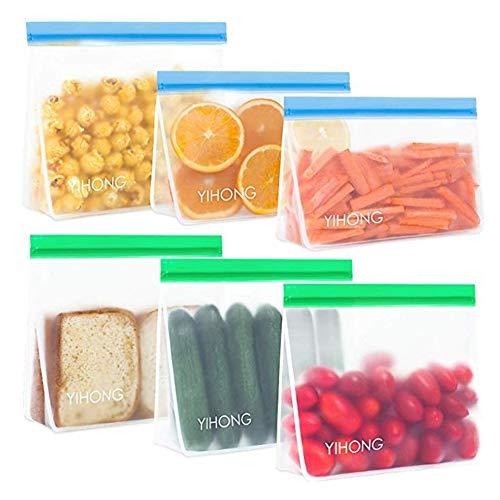 DXIA 6 Pack Bolsas Almacenamiento de Alimentos Reutilizables, 2 Tamaños Bolsas de Silicona, Sándwich y Merienda Portátil Zip Bolsas, para Sandwich, Fruta y Vegetales, Cocina, Viaje, Sin BPA