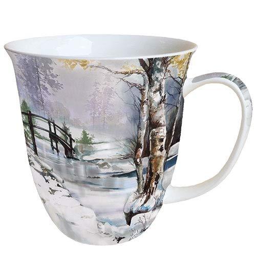 Ambiente Świąteczny kubek z porcelany Fine Bone China 0,4 l Czas zimowy