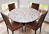"""Covers For The Home Elastic Edged Flannel Backed Vinyl Fitted Table Cover - Multi-Color Geometric Pattern - Large Round - Fits Tables up to 45″ - 56"""" Diameter"""