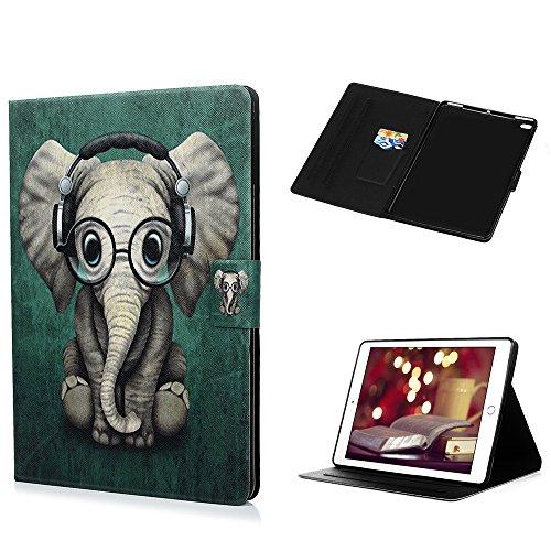 Coque pour iPad Air/iPad Air 2/ iPad LANVY Bookstyle Étui Exquise Housse Imprimé en PU Cuir Case à rabat Coque de protection Portefeuille Case pour iPad Air/iPad Air 2/ iPad 9.7 inch - l'éléphant