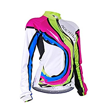 NUCKILY Women s Long Sleeve Cycling Jersey Bike Shirt Quick Dry Breathable Bicycle Clothing Bike Top with 4 Pockets