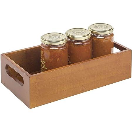 Pr/áctico caj/ón de madera para almacenar alimentos Organizador de cocina abierto en madera de bamb/ú blanco mDesign Caja organizadora con asas nueces o botellas especias